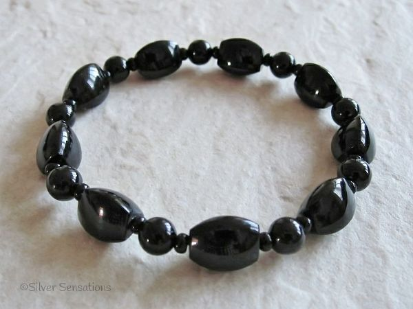 Black Agate Triangle Beads & Black Onyx Beaded Fashion Bracelet | Silver Sensations